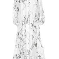 Organza Evening Coat With Abstract Flocked Print | Moda Operandi