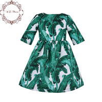 W.L.MONSOON Toddler Girl Dresses 2017 Autumn Dobby Kids Dresses for Girls Clothes Green Princess Dress with Tropical Printed