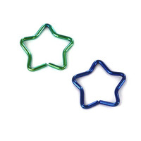 Blue and Green Surgical Steel Fake Cartilage Clip-On Star - 16G (1.2mm), 3/8'' (10mm)