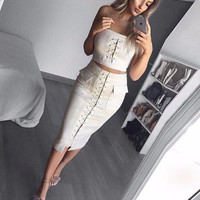 Autumn Criss-Cross Two-Piece Dress