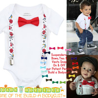 Rockabilly Punk Rock Tattoo Baby Outfit with Suspenders Bow Tie