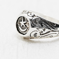 Moon and Star Signet Ring in Silver - Urban Outfitters