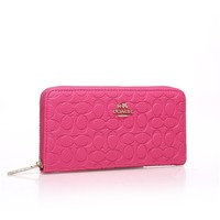 """Coach"" Women Purse Fashion Simple Classic Embossed Long Section Zip Wallet Handbag"