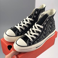 Converse Dior espadrille, versatile flat bottom lace-up high top casual slats