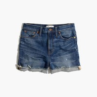 High-Rise Denim Boyshorts in Glenoaks Wash: Cutoff Edition