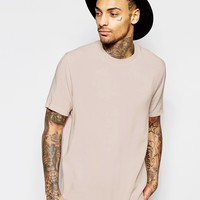 ASOS Woven Boxy T-shirt In Pink With Short Sleeves