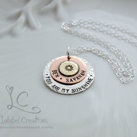 You Are My Sunshine Necklace, Personalized Necklace, Hand Stamped Jewelry, Mother's Day Gift, Mother's Necklace, Personalized Gifts