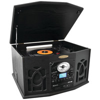 Pyle Home Bluetooth Retro Vintage Classic Style Turntable Vinyl Record Player With Vinyl-to-mp3 Recording (black)