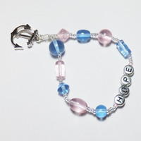HOPE and Anchor Charm with Pink and Blue Glass Stretch Beadwork Bracelet