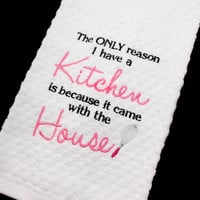 Kitchen Dish Towel, Funny Towel, Housewarming Gift, Wedding Gift, Embroidered Towel, Waffle Weave, Gift for Her, White Towel