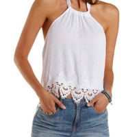 White Lace-Trim Halter Crop Top by Charlotte Russe