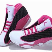 Hot Air Jordan 13 XIII Retro Women Shoes Pink Black