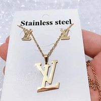 8DESS Louis Vuitton LV Women Fashion Necklace Earrings Set Jewelry
