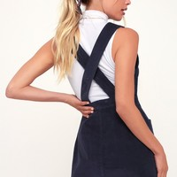 Wander My Way Navy Blue Corduroy Pinafore Dress