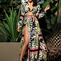 LOVE&LEMONADE Tropical Print Split Thigh Belted Maxi Dress
