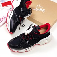 CL Christian Louboutin Women Fashion Casual Sneaker sport running white Shoes Best quality BLACK