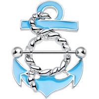 Silvery Rope and Aqua Nautical Anchor Nipple Shield | Body Candy Body Jewelry