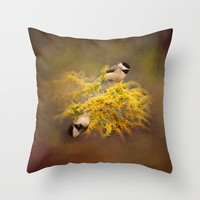 Pot of Gold - Chickadees - Song Birds - Wildlife Throw Pillow by Jai Johnson