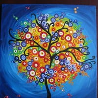 painting  art tree of life circles bright colorful happy wall gift  present tree original purple blue colourful colorful fantasy