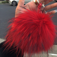 Red Faux Fur Pom Keychain