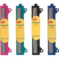Staples® Binder 3-Hole Punch, Assorted Colors, 3 Sheet Capacity