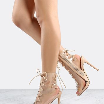 Nude Clear Heels Lace Up Boots