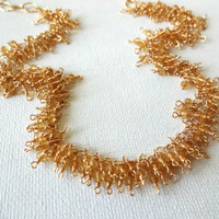 Handmade Citrine and 14k Gold Fill Delicate Fringe Necklace - Unique Gift for Her; Modern Jewelry; Adjustable