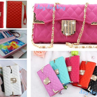 """Luxury Crystal Handbag Flip Leather Card Wallet  Phone Cover Case For iPhone 6 4.7"""" Plus 5.5"""" 5S 4S 5 4 Samsung galaxy s3 s4 s5  Note 3 candy color = 1705162884"""