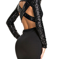 Sequins Long Sleeve Cutout Bodycon Mini Dress