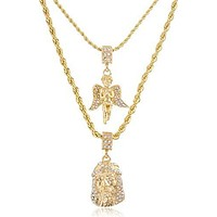 Goldtone Iced Out Angel and Jesus Piece Pendants Double Layer Rope Chain Necklace 22-28Inch