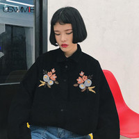 USWMIE 2017 Spring Fashion Flower Embroidery Corduroy Long Sleeve Loose Blouses Turn-down Collar Solid Color Personalized Tops