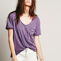Free People Womens Destroyed Tommy Tee