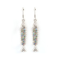 """silver and pastel crystal fishbone drop earrings at Joji Boutique: 1.5"""" silver fish skeleton, covered in pastel crystals.  #jewelry #joji #fashion #gifts"""