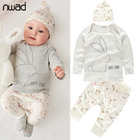 3 PCS /Set  New Baby Girl Boy Clothes Toddler Bunny Clothing Set For Newborn Baby  Long Sleeve T Shirt+Pants + Hat FF014