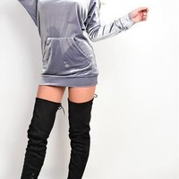 Grey Plain Pockets Hooded Long Sleeve Pleuche Mini Dress