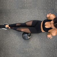 VEQKING Mesh Patchwork Yoga Pants Leggins Fitness Trousers Women Sports Leggings Gym Sportswear Running Tights Athletic Pants