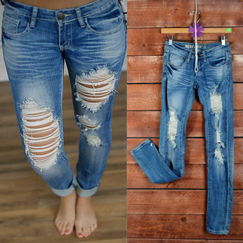 Rugged Destroyed Jeans (Medium Wash) - Piace Boutique