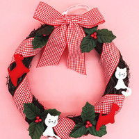 Red Plaid Bowknot Christmas Wreath