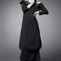 Black Cotton Round Neck Seventh Sleeves Natural Punk Lolita Dress