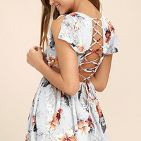 Whimsy and Wonder Light Grey Floral Print Lace-Up Skater Dress