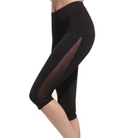 Women  Black Yoga Running Sport Sexy Net Patchwork Leggings  Knitted Workout Clothes  Gym Fitness G-006