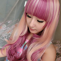 Ellena® Womens/Ladies 70cm Grape Purple&Pink Color Long CURLY Cosplay/Costume/Anime/Party/Bangs Full Sexy Wig (75cm,Curly,Grape Purple&Pink)