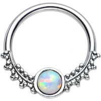 """14 Gauge 1/2"""" Synthetic White Opal Drops of Dew Captive Ring   Body Candy Body Jewelry"""