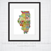 Illinois Love - IL Canvas Paper Print:  Grunge, Watercolor, Rustic, Whimsical, Colorful, Digital, Silhouette, Heart, State, United States