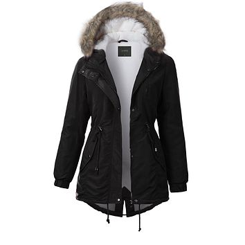 Sherpa Lined Anorak Jacket with Detachable Faux Fur Hood (CLEARANCE)