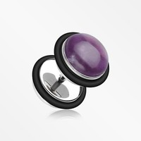 A Pair of Amethyst Stone Top Steel Fake Plug with O-Rings