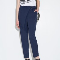 Navy Cross Over Belted Pants