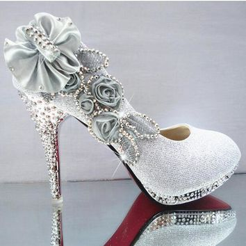 Glitter Gorgeous Wedding Bridal Evening Party Crystal High Heels Women Shoes Sexy Woman Pumps Fashion Bridal Shoes 9 color