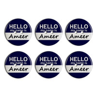 Ameer Hello My Name Is Plastic Resin Button Set of 6