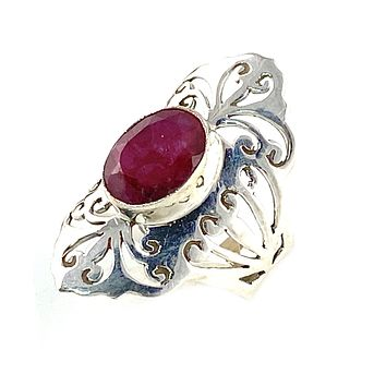 Ruby Cut Out Filigree Sterling Silver Ring